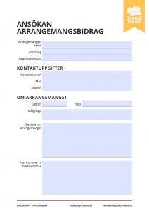 Bild på distriktets ansökan för arrangemangsbidrag, länk till pdf fil ansökan